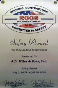RCCS Safety Award J.D. Miles & Sons, Inc. 2005