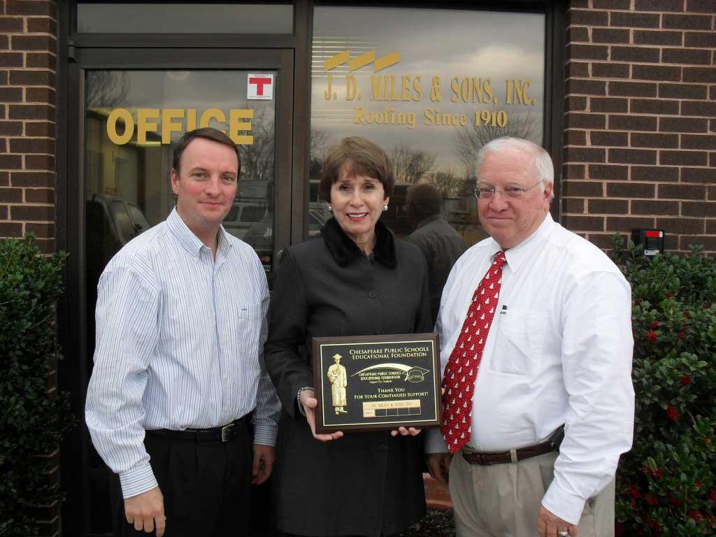 J.D. Miles & Sons, Inc. award Chesapeake Public Schools Education Foundation